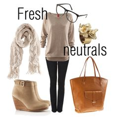 Vegan Fashion from Polyvore. Like but with anon neutral bag...maybe like a dark green or purple leather