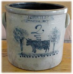 Antique stoneware crock with cobalt cow design♡♥♡