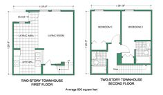 Floor Plan - Two-Story Townhouse