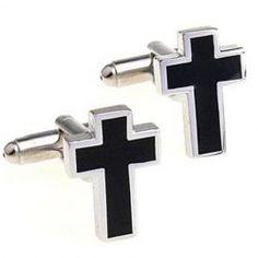 Pair of Stylish Black Cross Shape Alloy Cufflinks For Men (BLACK) | Sammydress.com Mobile