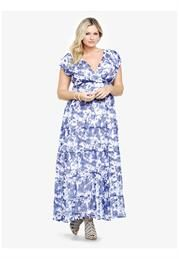 Plus Size Floral Print Chiffon Maxi Dress image