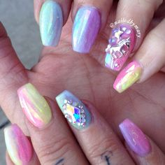 Rainbow pastel hologram unicorn magical coffin ballerina shape colorful charm Swarvoski Crystal acrylic nails