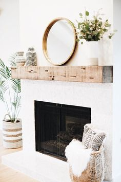 Beautiful modern farmhouse fireplace with chunky rustic wood beam mantel! Wood f… – Farmhouse Fireplace Mantels Wood Fireplace Mantel, Farmhouse Fireplace, Home Fireplace, Fireplace Remodel, Fireplace Design, Fireplace Ideas, Fireplace With Mirror, Mantle Ideas, Simple Fireplace