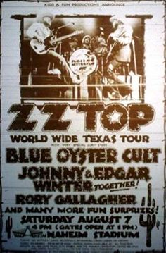 ZZ Top and Johnny Winters are a few of my favorite concert memories Rock Posters, Band Posters, Music Posters, Vintage Rock, Vintage Music, Vintage Concert Posters, Vintage Posters, Rory Gallagher, Classic Rock And Roll