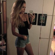High wasted shorts & simple tops. I SO wish I could rock stuff like this!!!