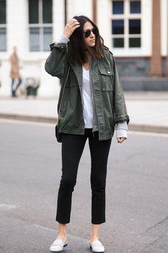 khaki green jacket casual fall outfit bmodish