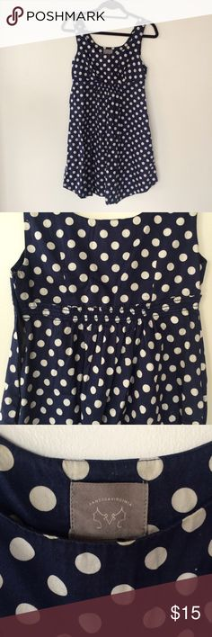 Anthropologie navy white polka dot dress Great sundress! Good for fall if you throw on a jacket! Great condition. Navy with white polka dots. Anthropologie Dresses Midi