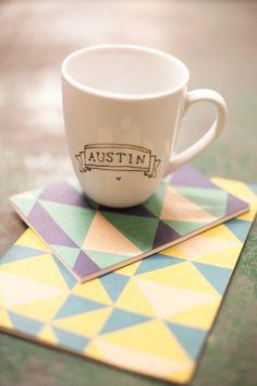 Austin Learned Some Video Tricks // Designlovefest. Dig the coasters + mug illustration.