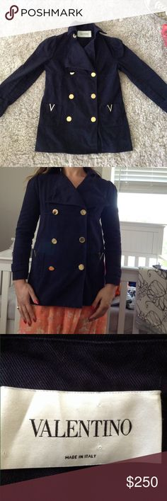 """Valentino jacket In good condition flaws pictured ^ Both pockets have gold """"v"""" on the top which have separated from fabric exposing almost like a glue (I'm sure it could be pretty easily fixed).  Also the size tag is missing!  Not sure the exact size but I am a large chested 6 and it is to tight in chest. My sister modeling above is also a six but with muscular arms/flat chest and it is to tight in arms so I would say its a 4! not sure how much it's worth so make an offer! Sleeve length 21""""…"""