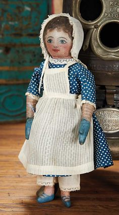 Rag Doll Cat Blue The Blackler Collection (Part 2 of set): 3 Petite and Charming American Oil-Painted Cloth Folk Doll Victorian Dolls, Antique Dolls, Vintage Dolls, Doll Patterns, Clothing Patterns, Painted Shorts, Doll Quilt, Bear Doll, Little Doll