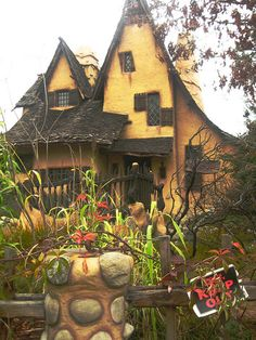Spadena House, or Witches House is an example of storybook architecture.  The house was built in 1921 at a California film studio for use as offices and dressing rooms.  In 1934 it was moved to Beverly Hills and converted to a private residence.  In keeping with its storybook style, the house is intentionally lopsided and ill-proportioned, and its English garden is meant to be overgrown.  by VictoriaWilliams