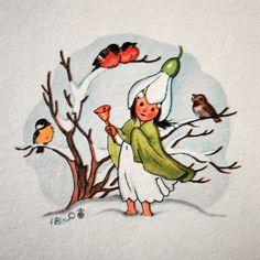 Vintage Christmas Card by Ida Bohatta  ~ Tiny Orange Bird