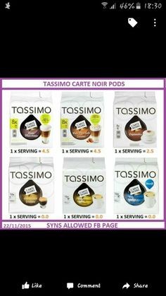 Tassimo syns Slimming World Syn Values, Slimming World Syns, Slimming World Recipes, Slimmimg World, Sw Meals, Coffee Pods, Healthy Living, Food And Drink, Drinks