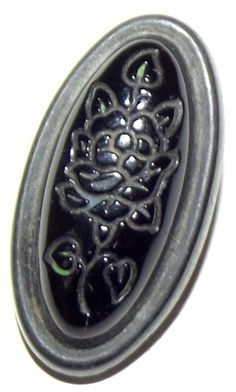 Antique Button Victorian Oval black glass by BlueTruckButtons