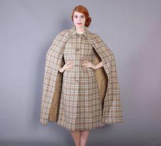 60s Tan & Grey Scottish Wool CAPE / Vintage 1960s Long Layered Tartan Wool Cape, xs - m