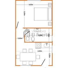 Modelo Serrana 30 1 Dormitorios 1 dormitorios 1 baño cocina/Living comedor Opcional cochera Consulte ahora! Garage Floor Plans, Small House Floor Plans, Studio Apartment Floor Plans, Apartment Plans, 500 Sq Ft House, Mini Loft, Micro Apartment, Vintage House Plans, Small Modern Home