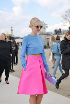 Color inspiration: Pink_Blue crop top, pink skirt #StreetStyle