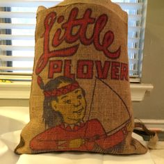 Recycled vintage burlap pillow