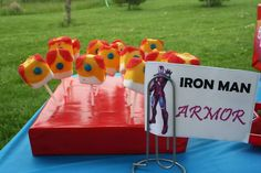 Iron Man Marshmallow Pops at an Avengers Party #avengers #partyfood