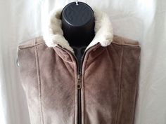 Vintage NILS Sprotswear Size Womens small brown/cream Fleece Vest #NILS #Vest