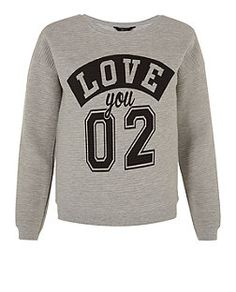 Teens Grey Love You 2 Ribbed Sweater  | New Look