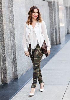 Bright white, a bold lip and camo-print pants