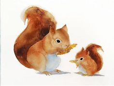 This is an archival giclee print of my original watercolor painting of a squirrel mom and baby.  materials: This is a high quality print. We use archival inks with a professional giclee printer. The paper is Velvet Fine Art and is acid-free. Giclee prints will retain brilliant  colors and extreme detail for 100 years in average home conditions. The paper is a high quality watercolor print paper made especially for archival printing. Colors, textures and detail are identical to the original…