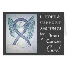 Brain Cancer Awareness Ribbon Angel Greeting Card