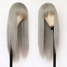 Lovestory Gray Color Synthetic Hair Wigs With Bangs Silky Straight Heat Resistant Synthetic Replacement Hair Wigs For Women Straight Lace Front Wigs, Synthetic Lace Front Wigs, Synthetic Wigs, Ali Grace Hair, Bob Cut Wigs, Bald Cap, Best Wigs, Wigs With Bangs, Blonde Ombre