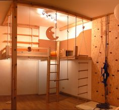 a child& dream: plateau with stairs, rope ladder, climbing wall + safety belt, indirect lighting, night light and cozy corner. Cool Bunk Beds, Kids Bunk Beds, Rope Ladder, Safety Ladder, Saltbox Houses, Uni Room, Georgian Homes, Room Goals, Loft Spaces