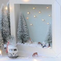 Ein beleuchteter Bilderrahmen mit kleinen Miniaturfiguren zaubert wunderschöne Winterstimmung in das Kinderzimmer. Die Anleitung findet ihr auf unseren Blog.
