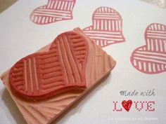 La ventana de mi desván: Mi corazón en una goma de borrar Stamp Carving, Handmade Stamps, Hand Carved, Stencils, Diy Crafts, Desserts, Food, Stamping, Store