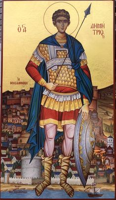 Saint Demetrios the Martyr and protector of Thessaloniki. Byzantine Icons, Byzantine Art, Religious Icons, Religious Art, Christ The Good Shepherd, St Florian, Funny Animal Quotes, Archangel Michael, Orthodox Icons