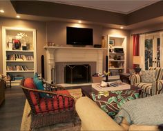 This is my inspiration for my living room, Phil's and Claire's living room from Modern Family. I want that fireplace more than anything. My Living Room, Home And Living, Living Spaces, Modern Living, Living Area, Modern Family House, Home And Family, Family Set, Family Houses