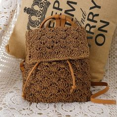 Retro Straw Drawstring Summer Backpack  Cell Phone Pocket Interior Zipper Pocket Interior Slot Pocket Air Cushion Belt & Straps Available in Military Green, Beige & Brown  Come and Visit our site: workingwhatnot.com/ Wicker Dresser, Wicker Trunk, Wicker Headboard, Wicker Shelf, Wicker Bedroom, Wicker Furniture, Wicker Couch, Wicker Planter, Wicker Baskets