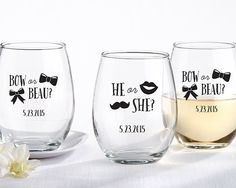Personalized 9 oz Stemless Wine Glass - Gender Reveal Collection