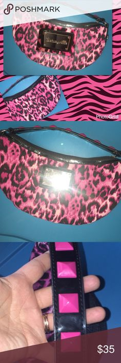 betsey Johnson purse Betseyville purse zebra print with studs very cute top of studs have little ware but inside is in great condition betsey Johnson Betsey Johnson Bags Shoulder Bags