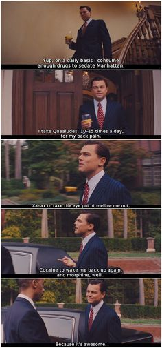The Wolf of Wall Street (2013) - Leonardo DiCaprio list drugs he takes on a daily basis,