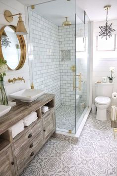 Bathroom renovation bathroom with gray and white cement floor tiles, .Bathroom renovation bathroom with gray and white cement floor tile, white marble subway tile on the shower and a distressed rough sawn media cabinet: Bathroom Bathroom Trends, Bathroom Renovations, Bathroom Ideas, Bathroom Goals, Bathroom Inspo, Shower Ideas, Remodel Bathroom, Budget Bathroom, Bathroom Inspiration