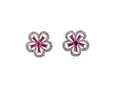 Brinco Blume com zircônia rosa - B064 - Bordot