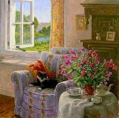 images of stephen darbishire art Window View, Open Window, Cottage Art, Vintage Interiors, Foto Art, Paintings I Love, Room Paint, Cozy House, Oeuvre D'art