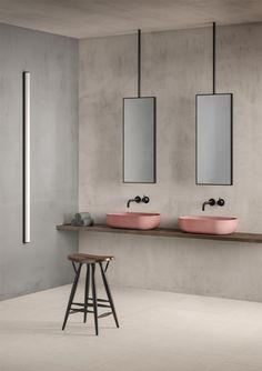 Liefde voor beton-ciré voor in de badkamer