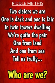 Can you solve this tricky riddle? Fun Riddles With Answers, Tricky Riddles, Best Riddle, Two Sisters, Brain Teasers, Clever, Desktop, Mind Games, Riddles