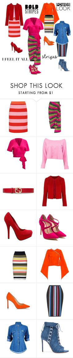 """""""Oh it's stripes honey!!"""" by jaja8x8 ❤ liked on Polyvore featuring Boutique Moschino, Isa Arfen, Boohoo, Gucci, Related, Bailey 44, Rosie Assoulin, Jimmy Choo, Versace and Oscar Tiye"""