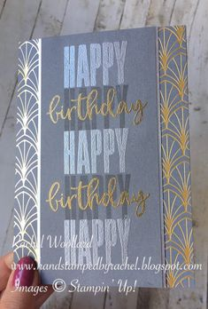 Happy Images, Block Lettering, Fall Flowers, My Stamp, Happy Birthday Cards, Stamping Up, Stampin Up Cards, Hand Stamped, Designer