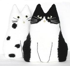 "Cute crochet toy pillows ""Cat Pals"" - crochet idea for a hat maybe"