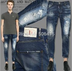 New autumn Men's Jeans,Fashion DSQ Brand men's Jeans Casual frayed denim pants skinny Straight D2 jeans free shipping Price: US $48.56