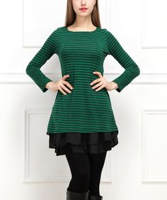 Look at this Green & Black Stripe Ruffle-Hem Tunic on #zulily today!