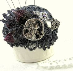 Pincushion Gothic Beauty Charcoal Gray Assemblage Focal Unique OOAK needlecraft accessory straight pins sewing crafting vintage tagt rdtt