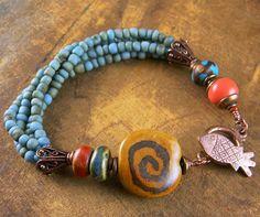 Kazuri Bracelet Turquoise Blue Orange Red Fish by ChrysalisToo, $59.00